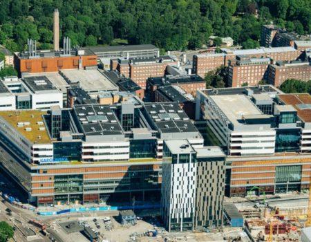 Nya Karolinska Solna, NKS, fotat från helikopter